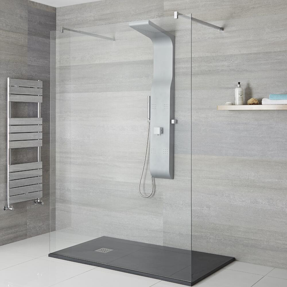 Milano Dalton - Modern Exposed Shower Tower Panel with Shelf, Large Shower Head, Hand Shower and Body Jets - Matt Silver