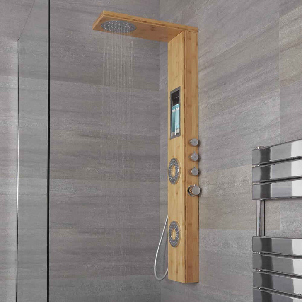 Milano Karr - Modern Exposed Shower Tower Panel with Shelf, Large Shower Head, Hand Shower and Body Jets - Bamboo