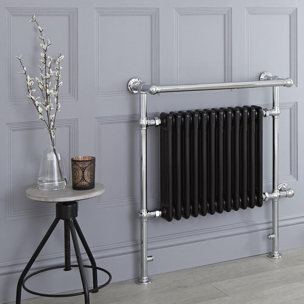 Milano Trent - Black Traditional Electric Heated Towel Rail - 930mm x 790mm (With Overhanging Rail)