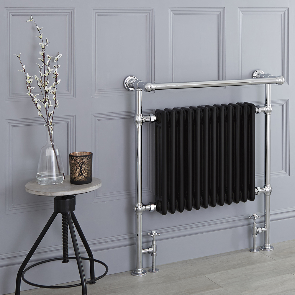 Milano Elizabeth - Black Traditional Heated Towel Rail - 930mm x 790mm (With Overhanging Rail)