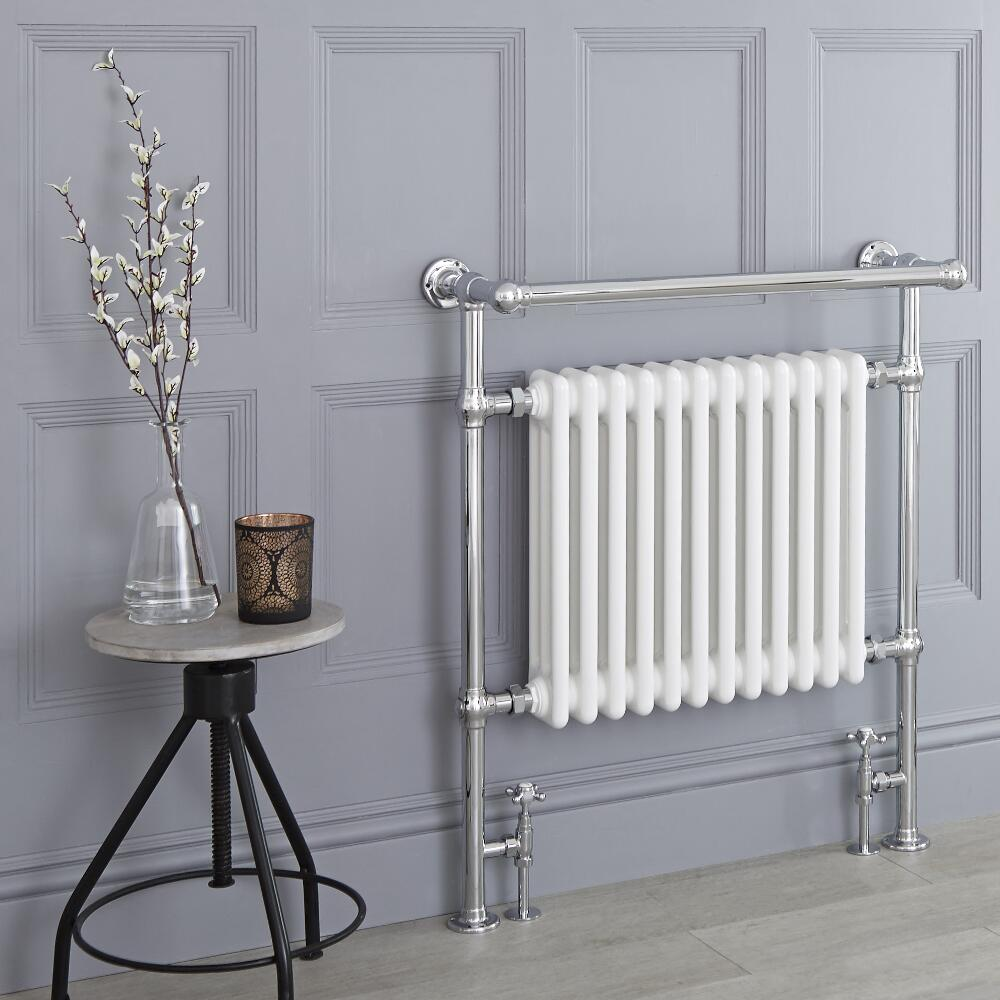Milano Trent - White Traditional Heated Towel Rail - 930mm x 790mm (With Overhanging Rail)