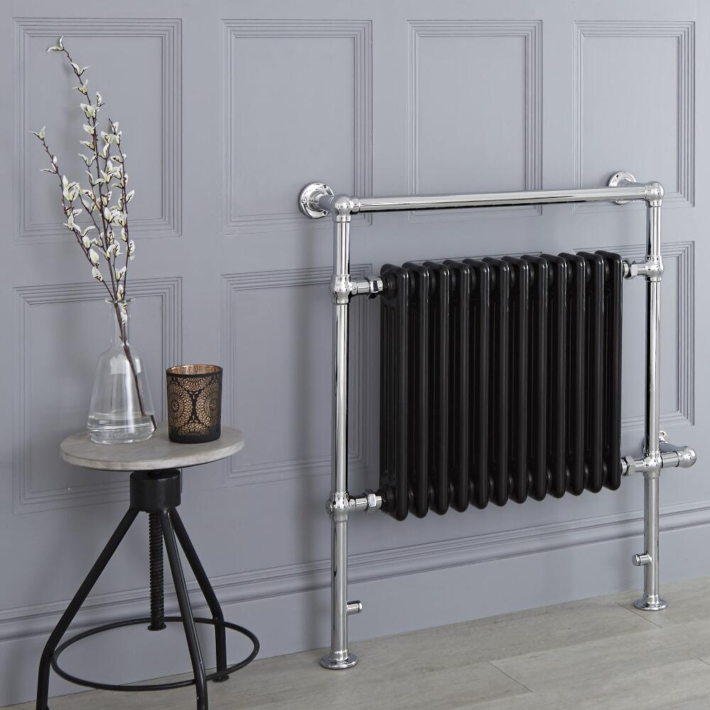Milano Trent - Black Traditional Electric Heated Towel Rail - 930mm x 790mm (Flat Top Rail)