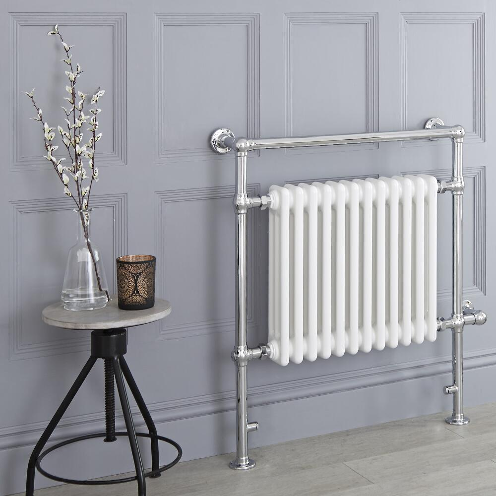 Milano Elizabeth - White Traditional Electric Heated Towel Rail - 930mm x 790mm (Flat Top Rail)