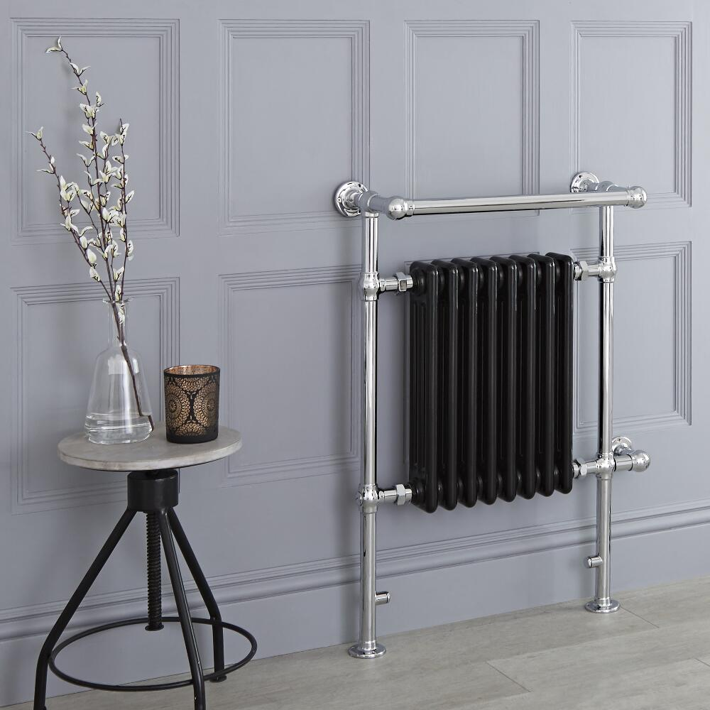 Milano Trent - Black Traditional Electric Heated Towel Rail - 930mm x 620mm (With Overhanging Rail)