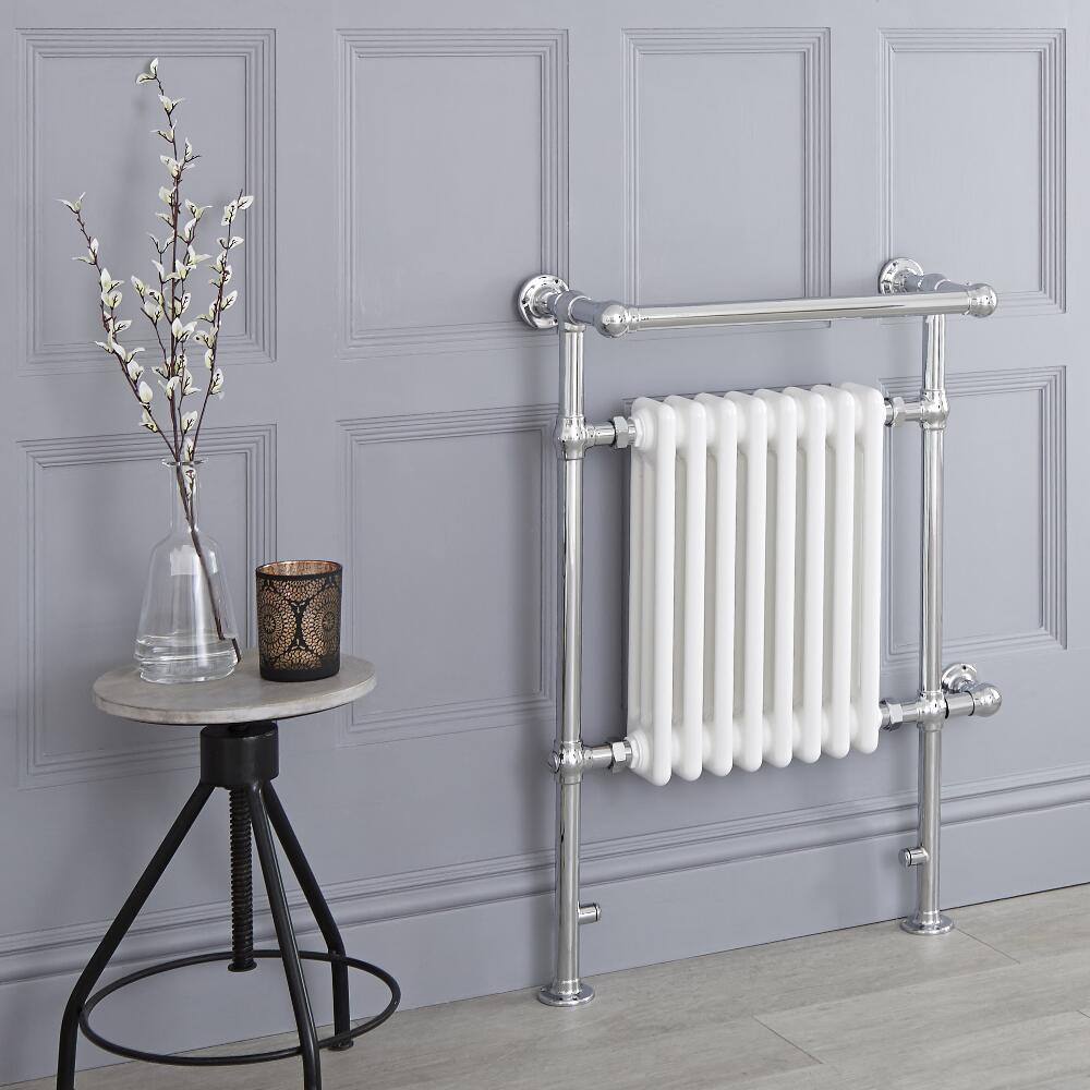 Milano Elizabeth - White Traditional Electric Heated Towel Rail - 930mm x 620mm (With Overhanging Rail)