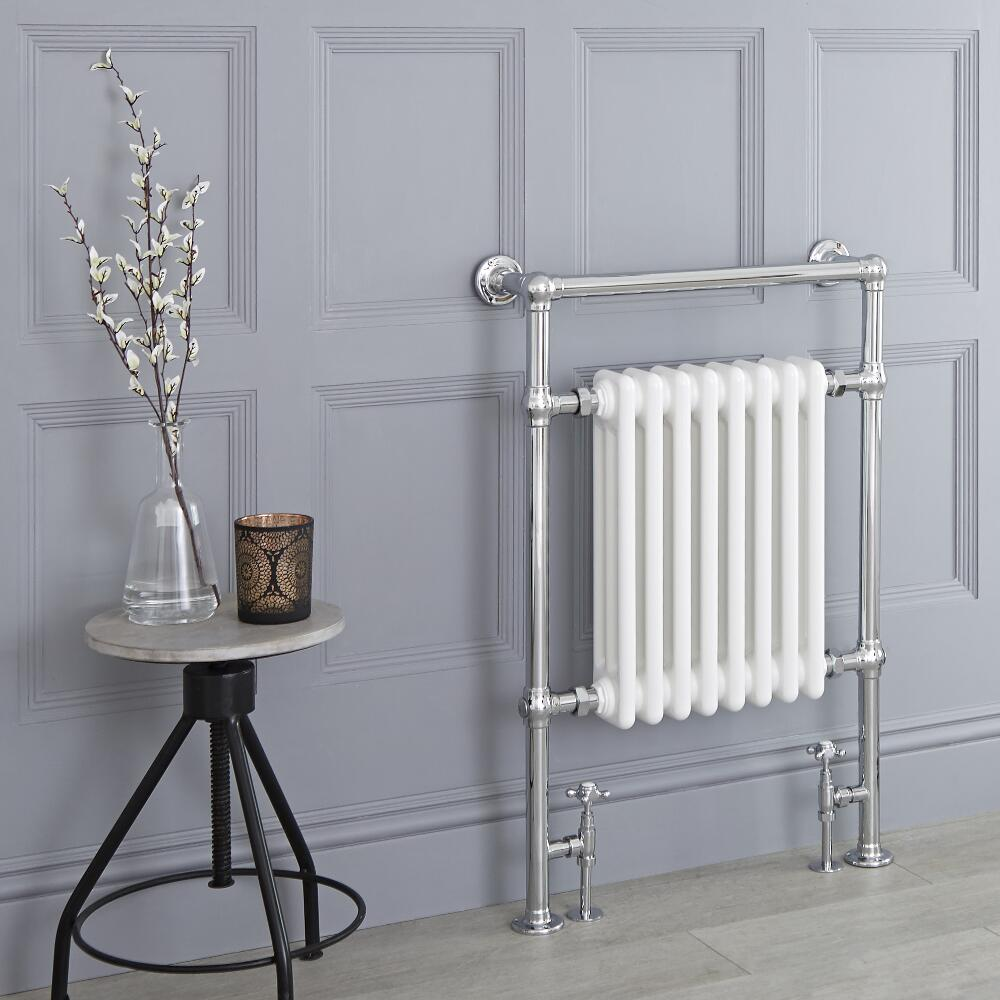 Milano Trent - White Traditional Heated Towel Rail - 930mm x 620mm (Flat Top Rail)
