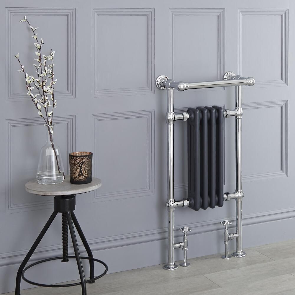 Milano Elizabeth - Anthracite Traditional Heated Towel Rail - 930mm x 452mm (With Overhanging Rail)