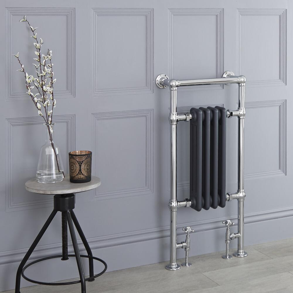 Milano Elizabeth - Anthracite Traditional Heated Towel Rail - 930mm x 452mm