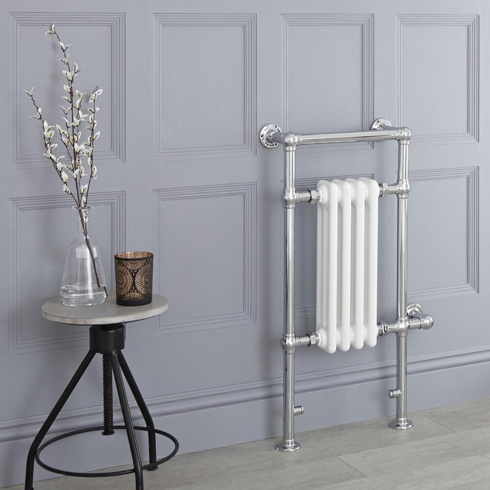 Milano Elizabeth - White Traditional Electric Heated Towel Rail - 930mm x 450mm