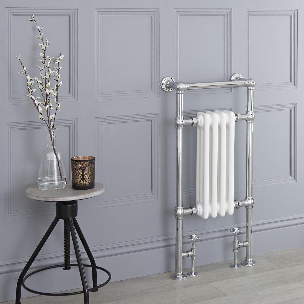 Milano Elizabeth - White Traditional Heated Towel Rail - 930mm x 450mm