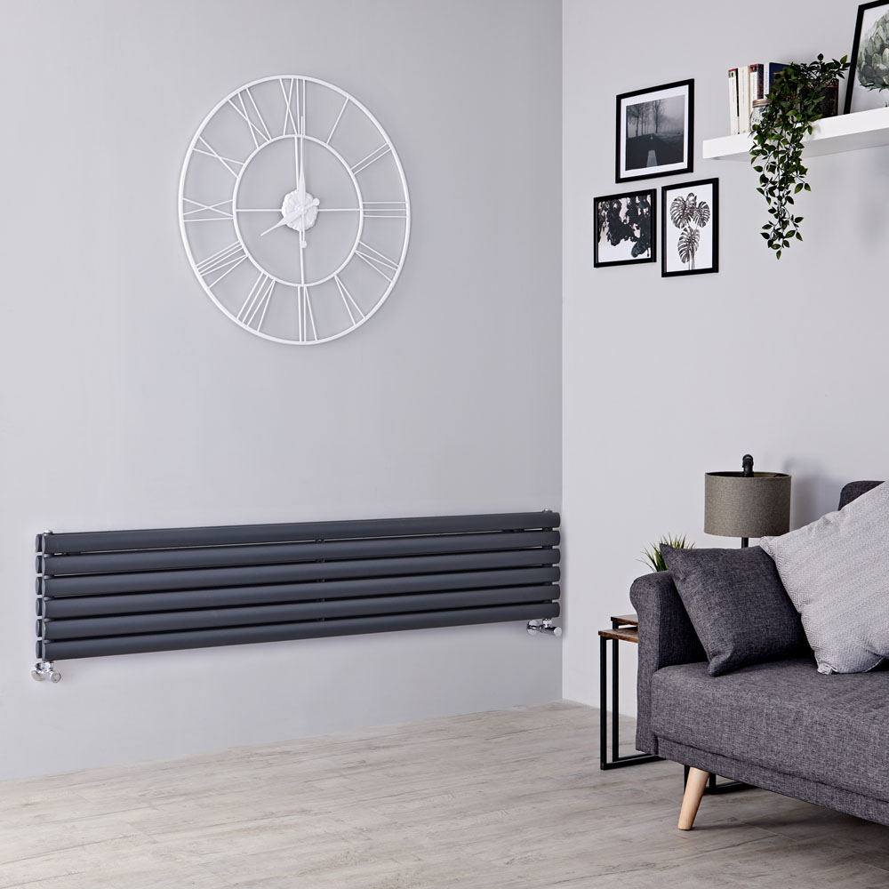 Milano Aruba - Anthracite Horizontal Designer Radiator - 354mm x 1780mm (Double Panel)