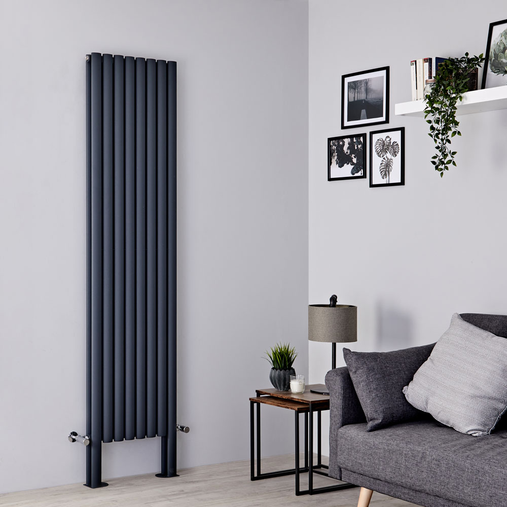 Milano Aruba Plus - Anthracite Vertical Designer Radiator - 2000mm x 472mm (Double Panel)