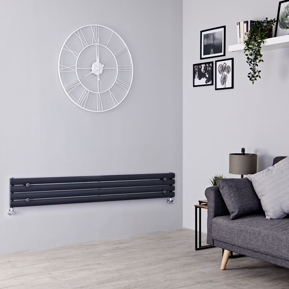 Milano Aruba Slim - Anthracite Space-Saving Horizontal Designer Radiator - 236mm x 1780mm