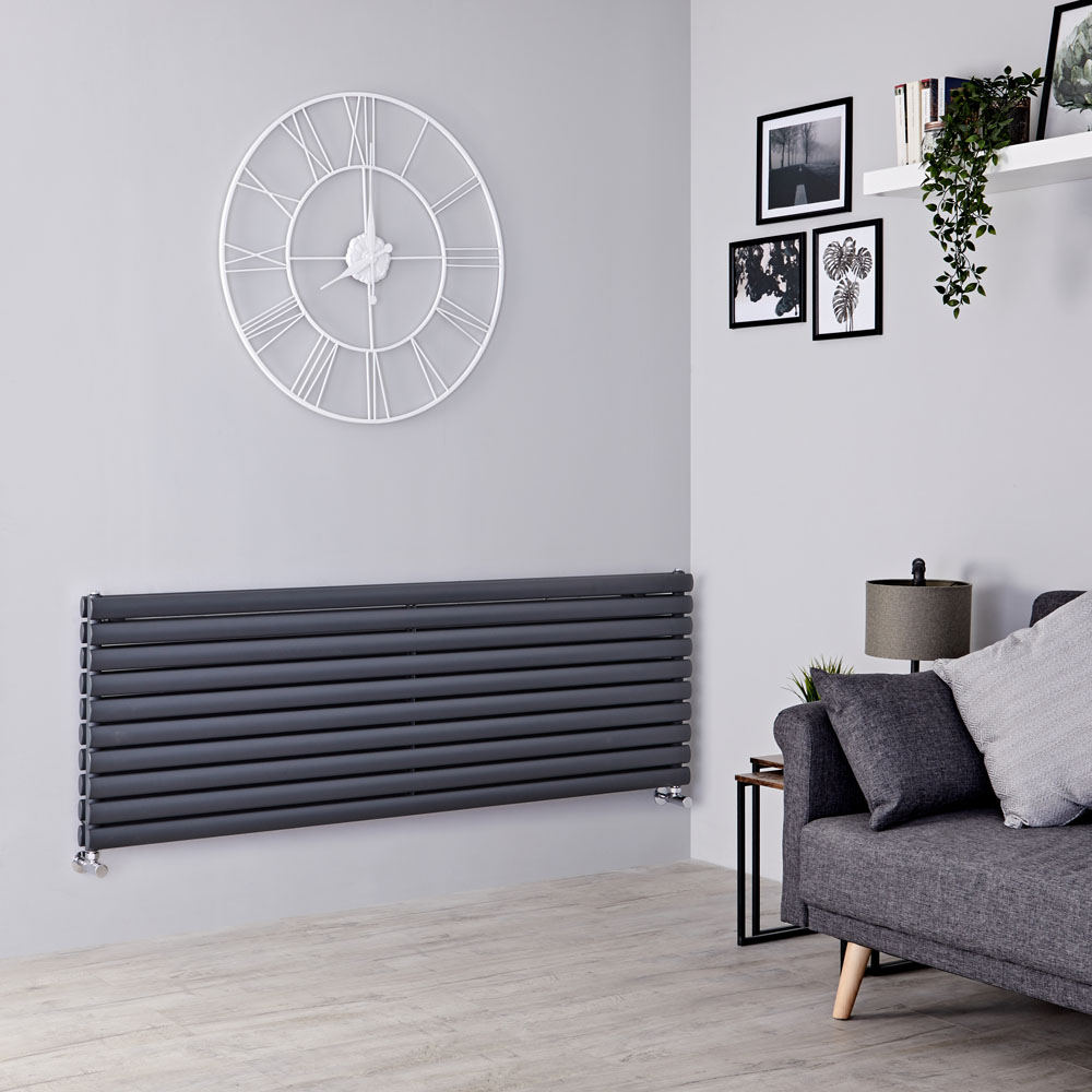 Milano Aruba - Anthracite Horizontal Designer Radiator - 590mm x 1780mm (Double Panel)
