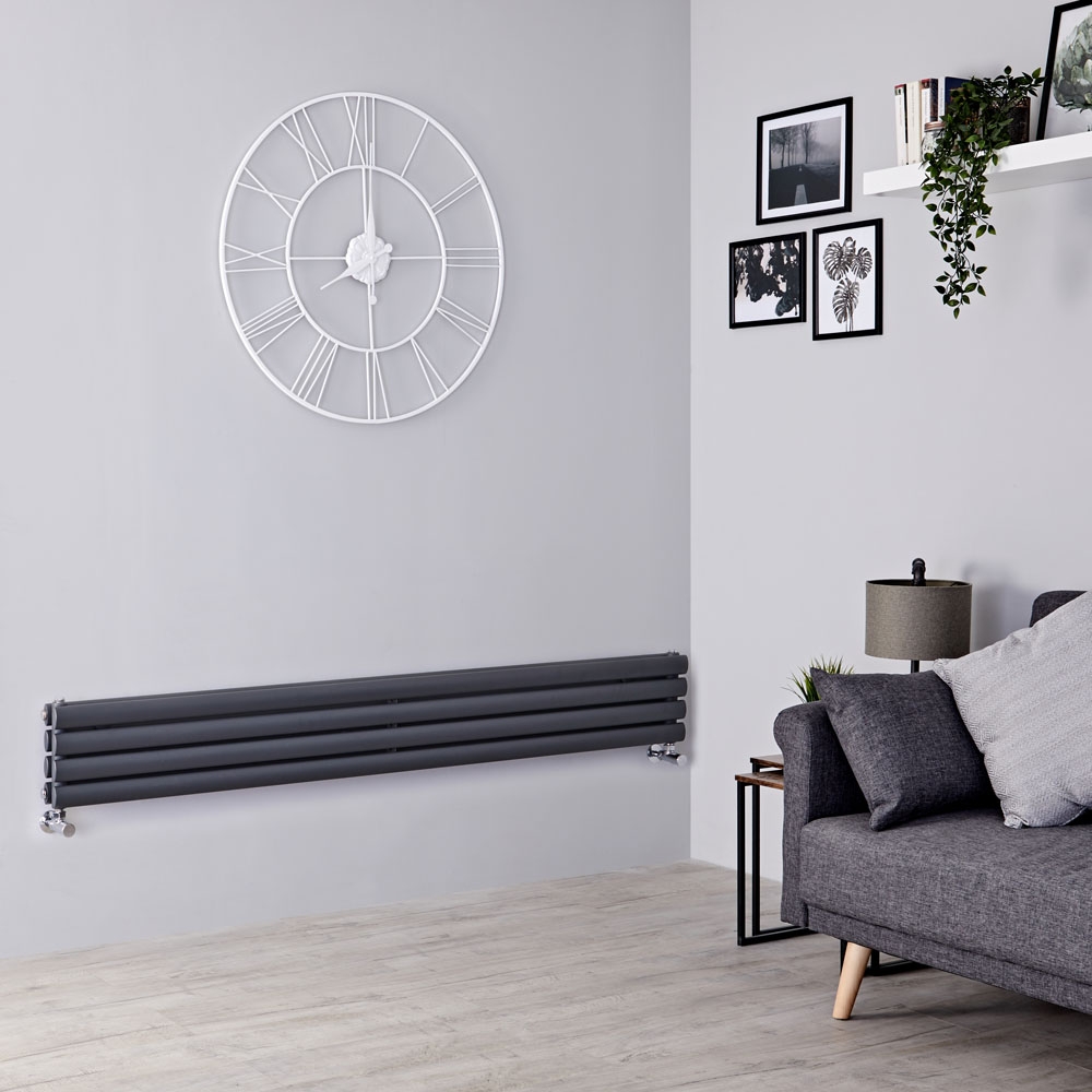 Milano Aruba Slim - Anthracite Space-Saving Horizontal Designer Radiator - 236mm x 1780mm (Double Panel)
