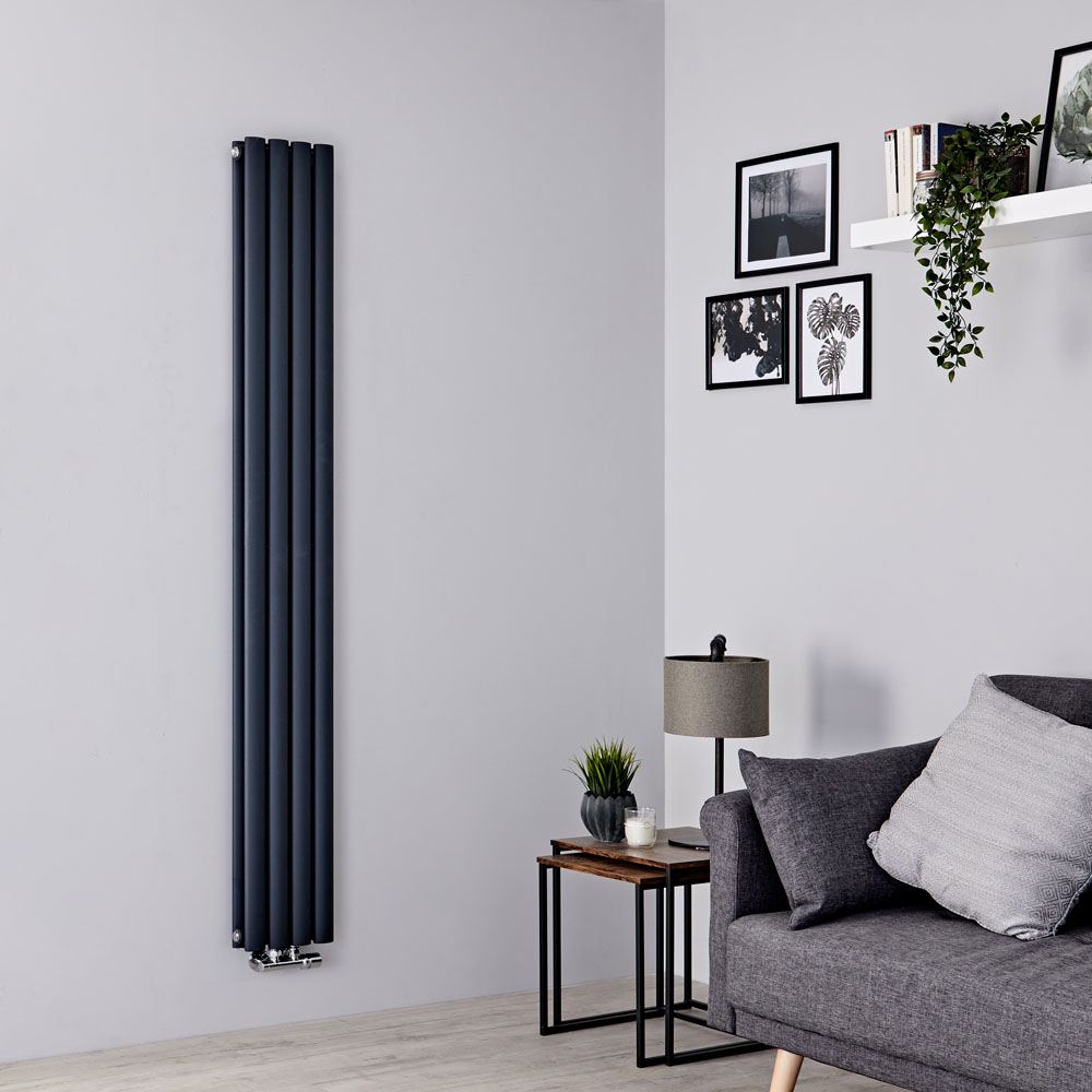 Milano Aruba Flow - Anthracite Vertical Middle Connection Designer Radiator - 1780mm x 236mm (Double Panel)
