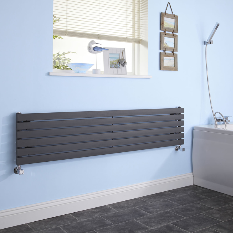 Milano Capri - Anthracite Flat Panel Horizontal Designer Radiator 354mm x 1780mm