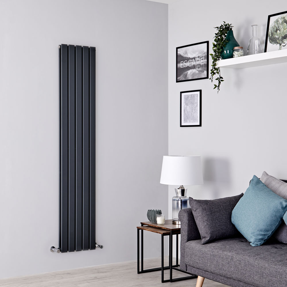 Milano Alpha - Anthracite Flat Panel Vertical Designer Radiator - 1780mm x 350mm (Double Panel)
