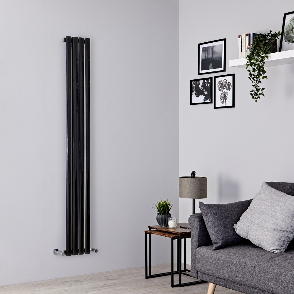 Milano Aruba Slim - Black Space-Saving Vertical Designer Radiator - 1780mm x 236mm