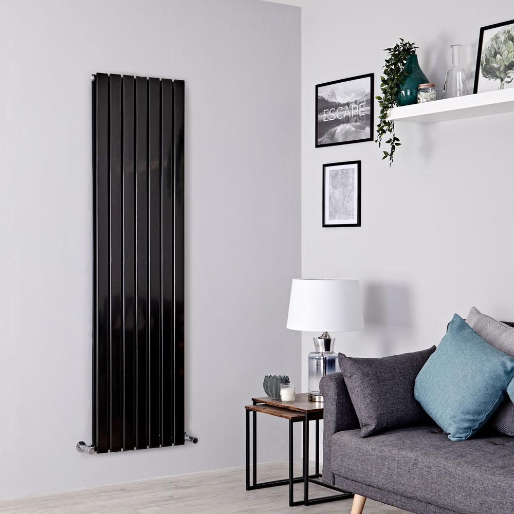 Milano Alpha - Black Flat Panel Vertical Designer Radiator - 1780mm x 490mm (Double Panel)