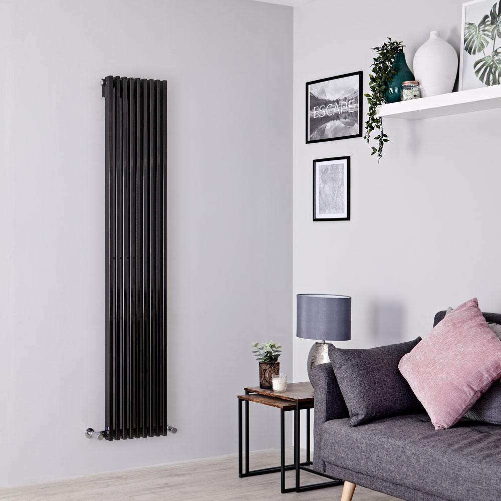 Milano Cayos - Black Vertical Designer Radiator - 1780mm x 342mm
