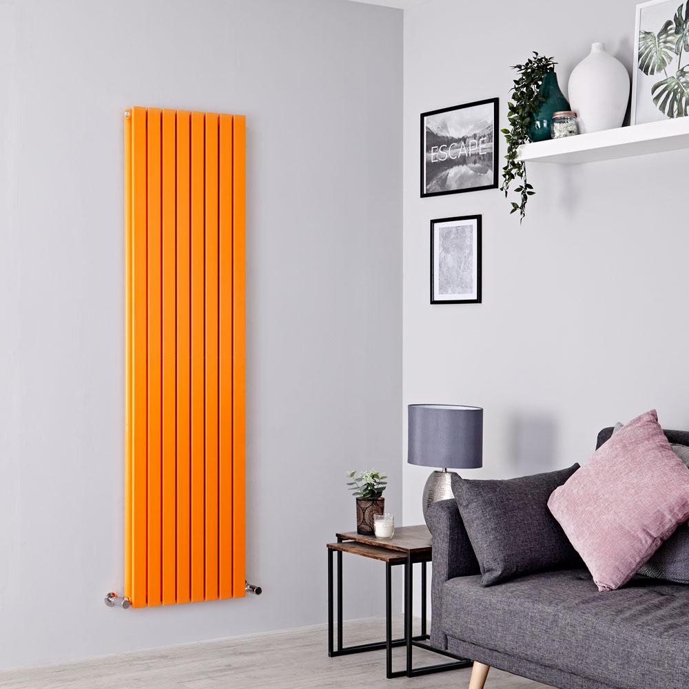 Milano Capri - Light Orange Flat Panel Vertical Designer Radiator - 1780mm x 472mm (Double Panel)