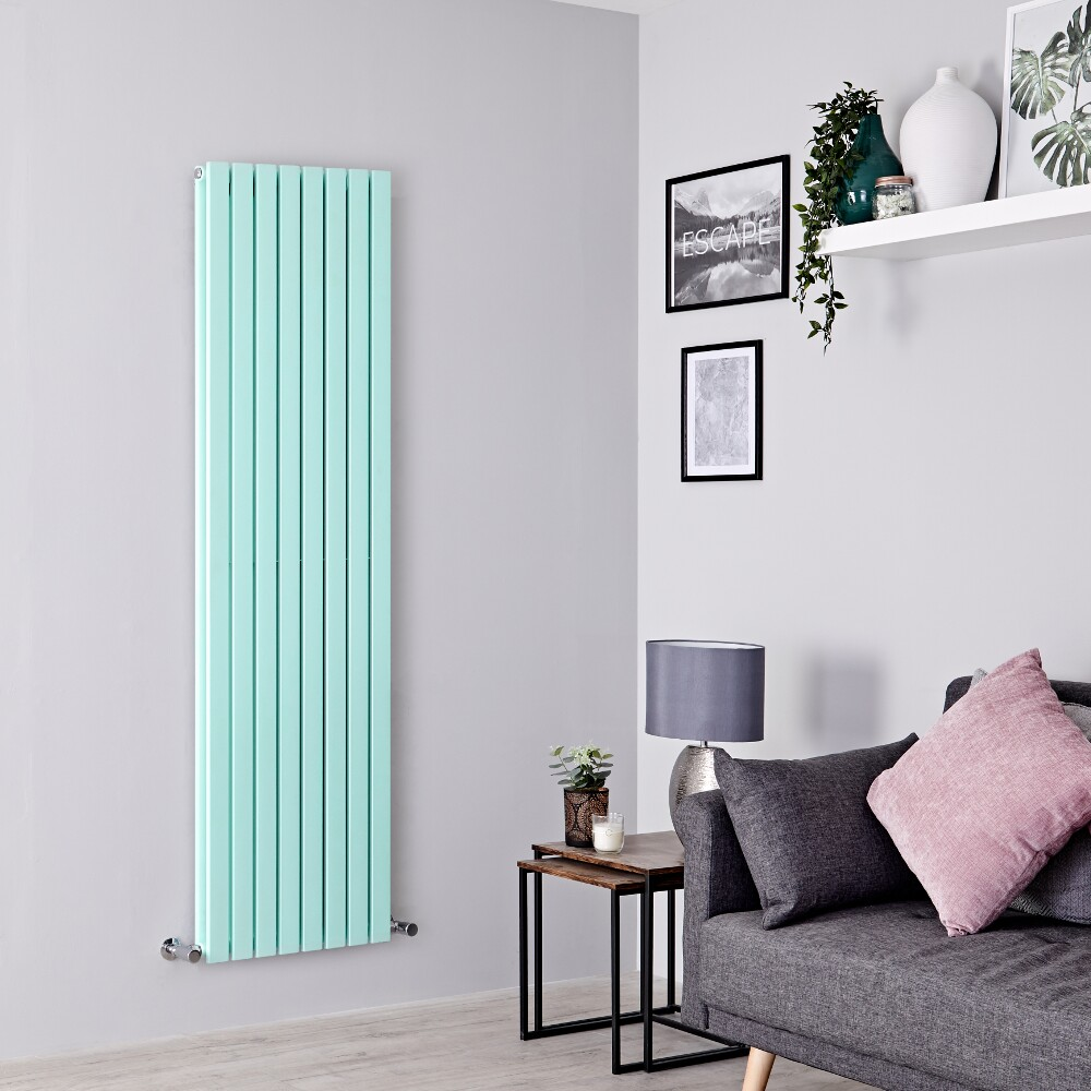 Milano Capri - Mint Green Flat Panel Vertical Designer Radiator - 1780mm x 472mm (Double Panel)