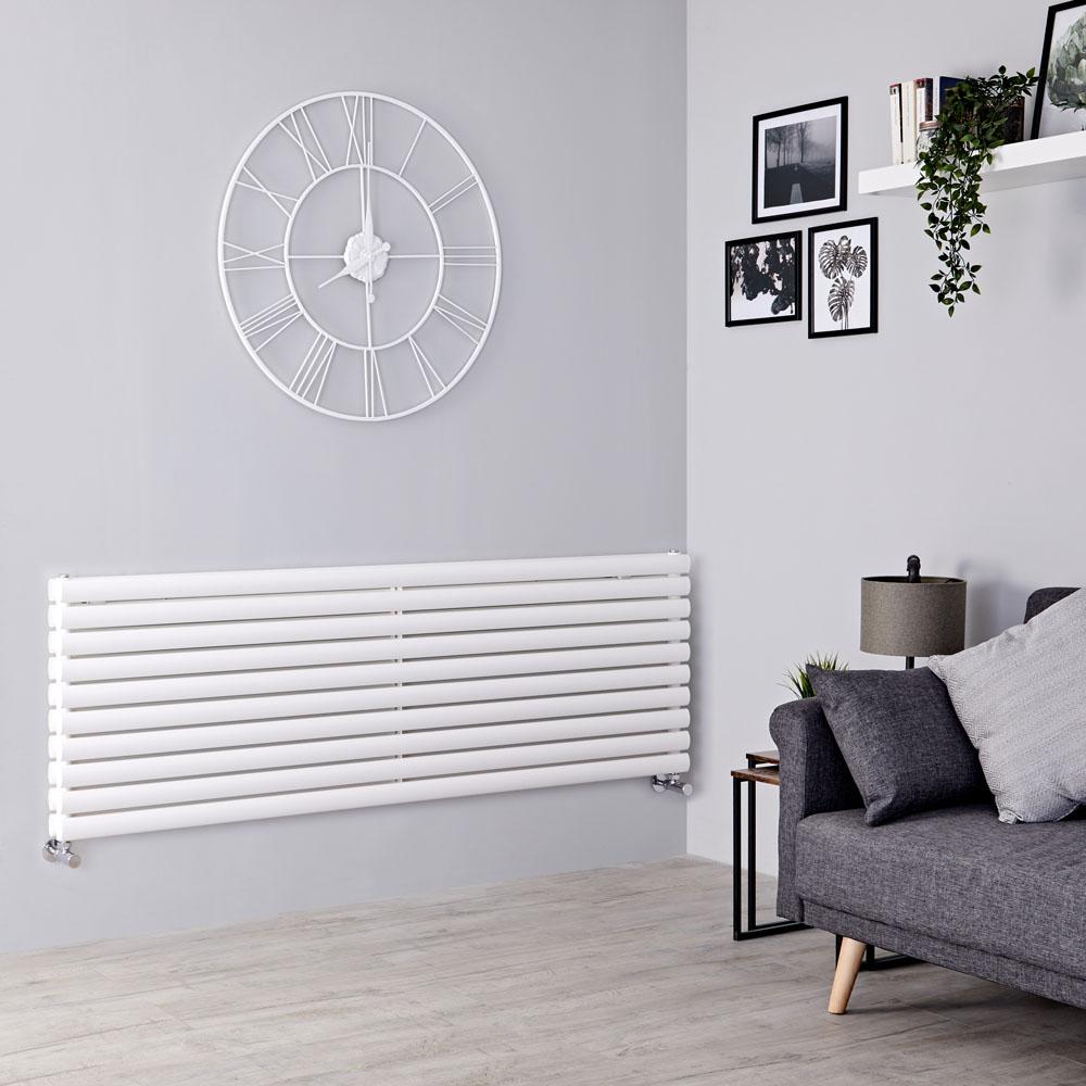 Milano Aruba - White Horizontal Designer Radiator - 590mm x 1780mm (Double Panel)