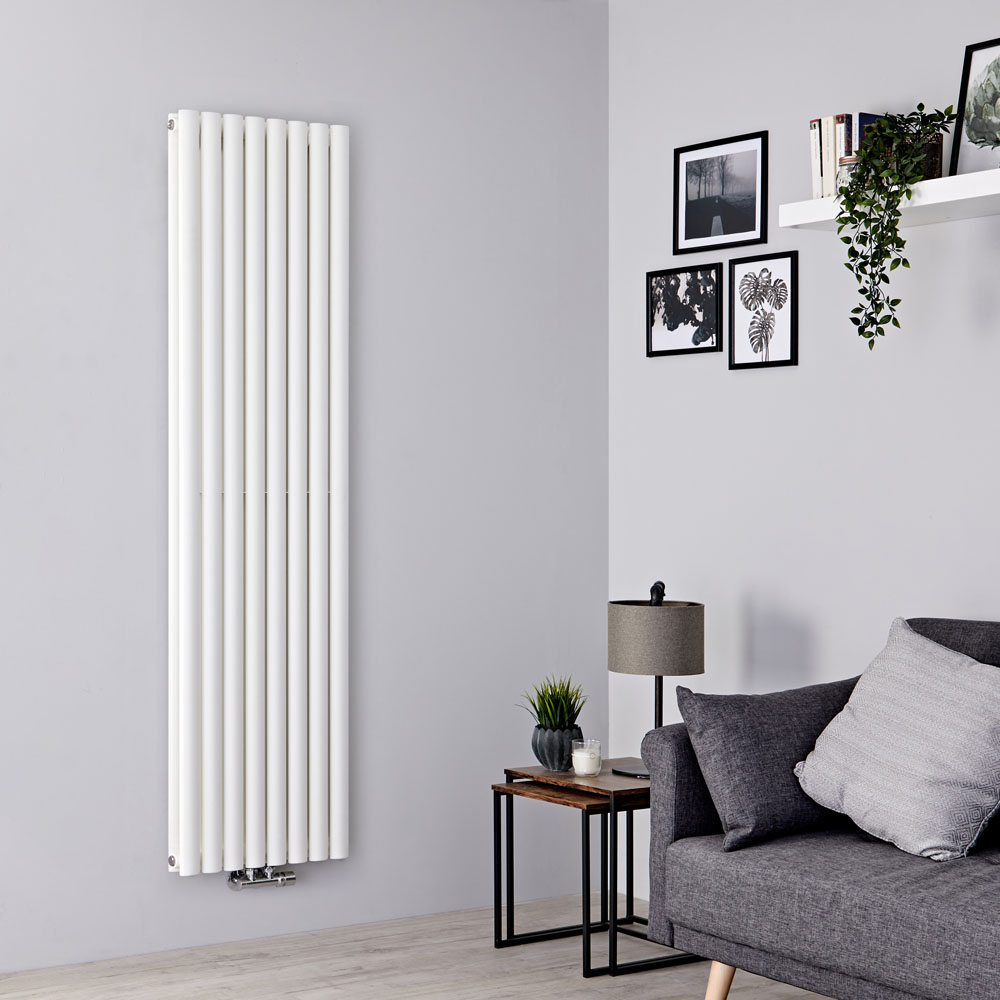 Milano Aruba Flow - White Vertical Middle Connection Designer Radiator - 1780mm x 472mm (Double Panel)