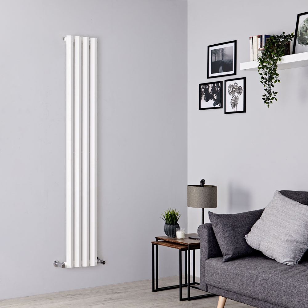 Milano Viti - White Diamond Panel Vertical Designer Radiator - 1780mm x 280mm