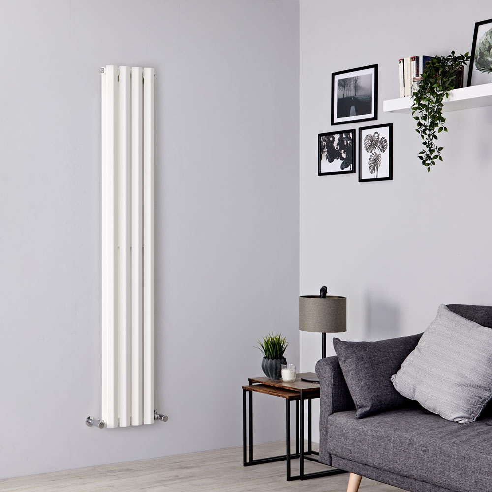Milano Viti - White Diamond Panel Vertical Designer Radiator - 1780mm x 280mm (Double Panel)