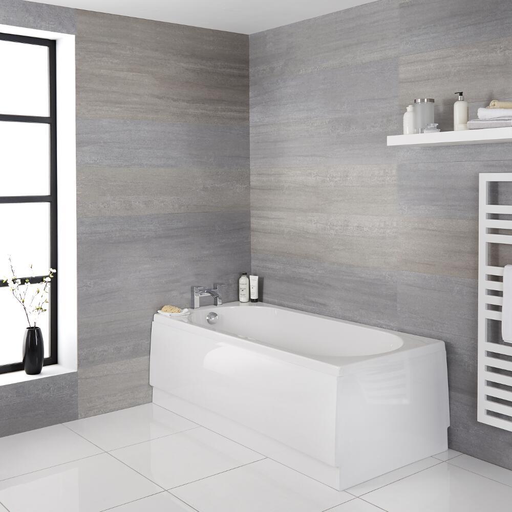 Milano Ballam - White Modern Round Single Ended Standard Bath - 1600mm x 700mm