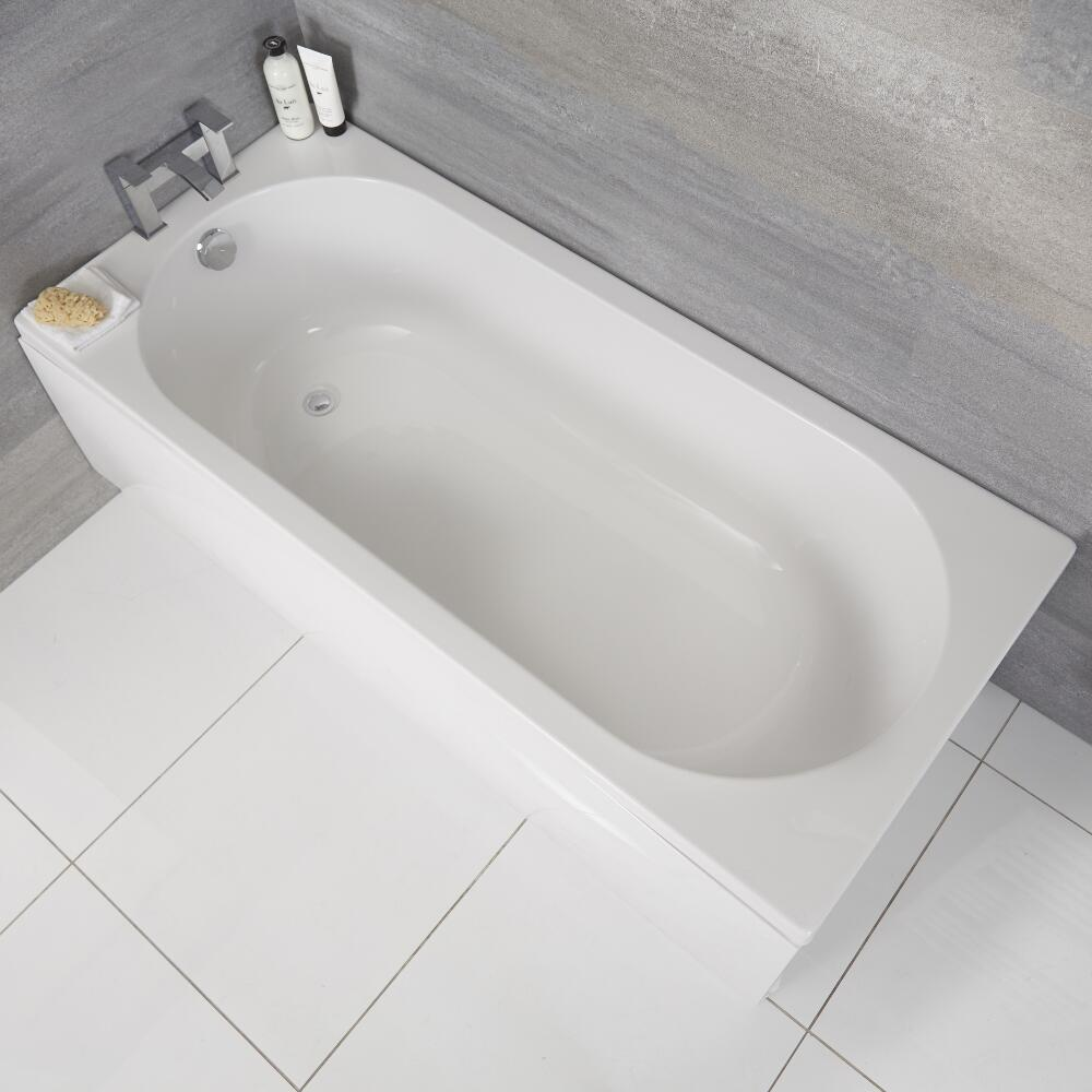 Milano Ballam - White Modern Round Single Ended Standard Bath - 1600mm x 700mm
