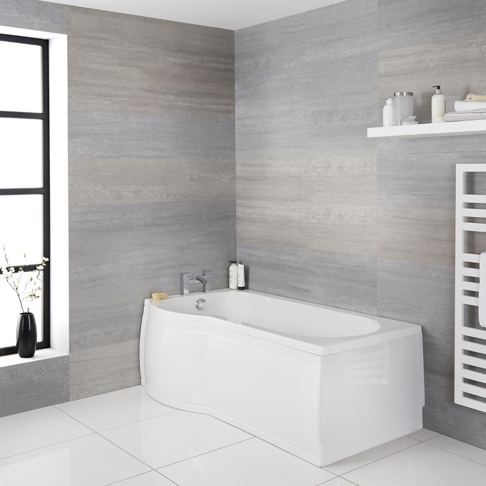 Milano Newby - White Modern Left Hand P -Shape Shower Bath with Panels - 1500mm x 800mm