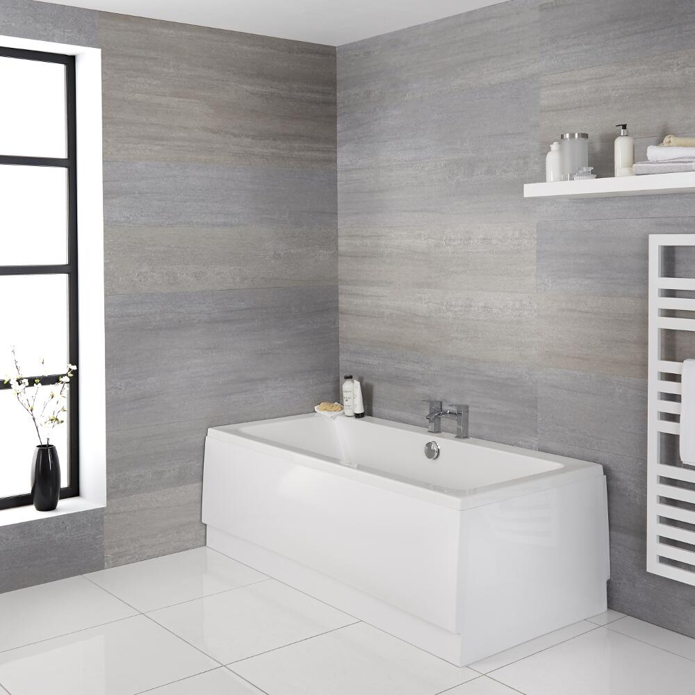 Milano Elswick - White Modern Double-Ended Standard Bath - 1700mm x 700mm
