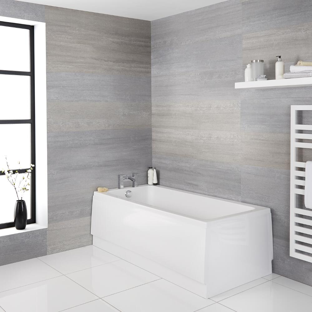 Milano Farrington - White Modern Single Ended Standard Bath - 1600mm x 700mm