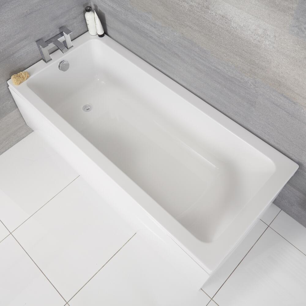 Milano Farington - White Modern Single Ended Standard Bath - 1700mm x 750mm