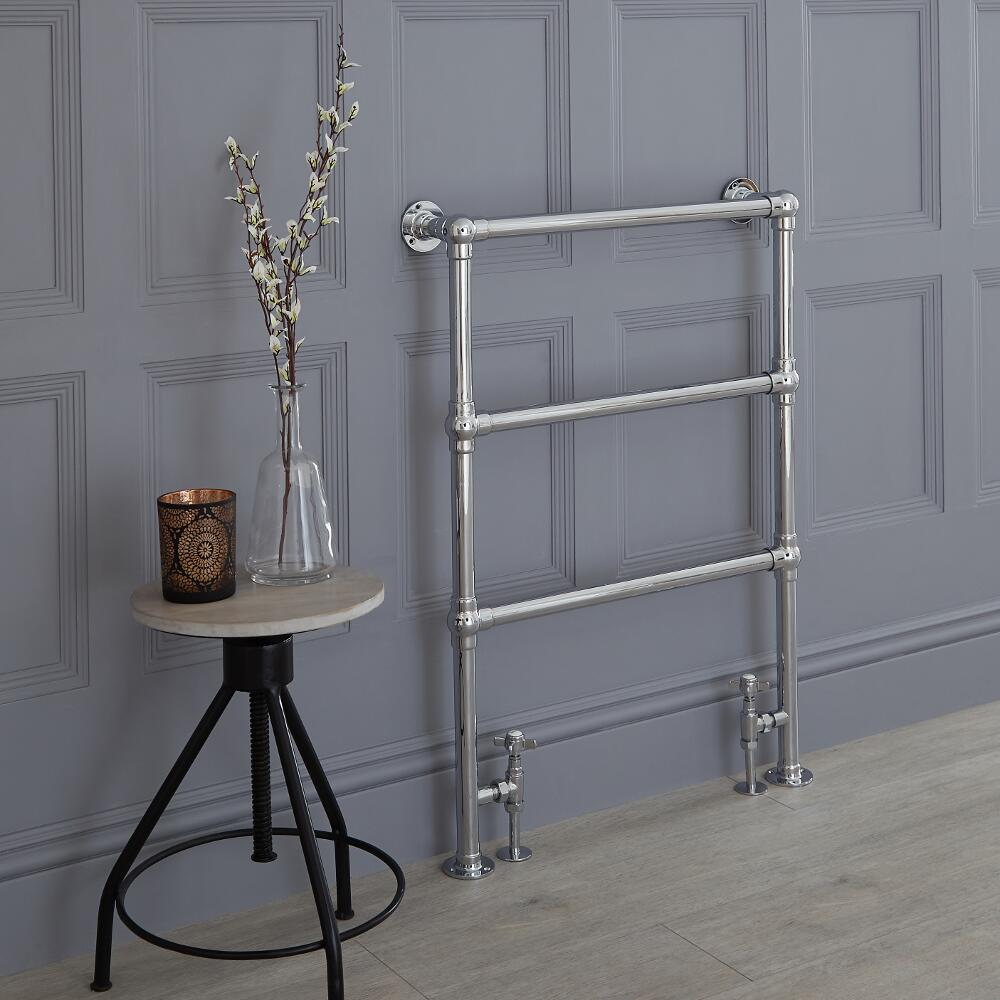 Milano Derwent - Traditional Brass Minimalist Heated Towel Rail - 930mm x 632mm