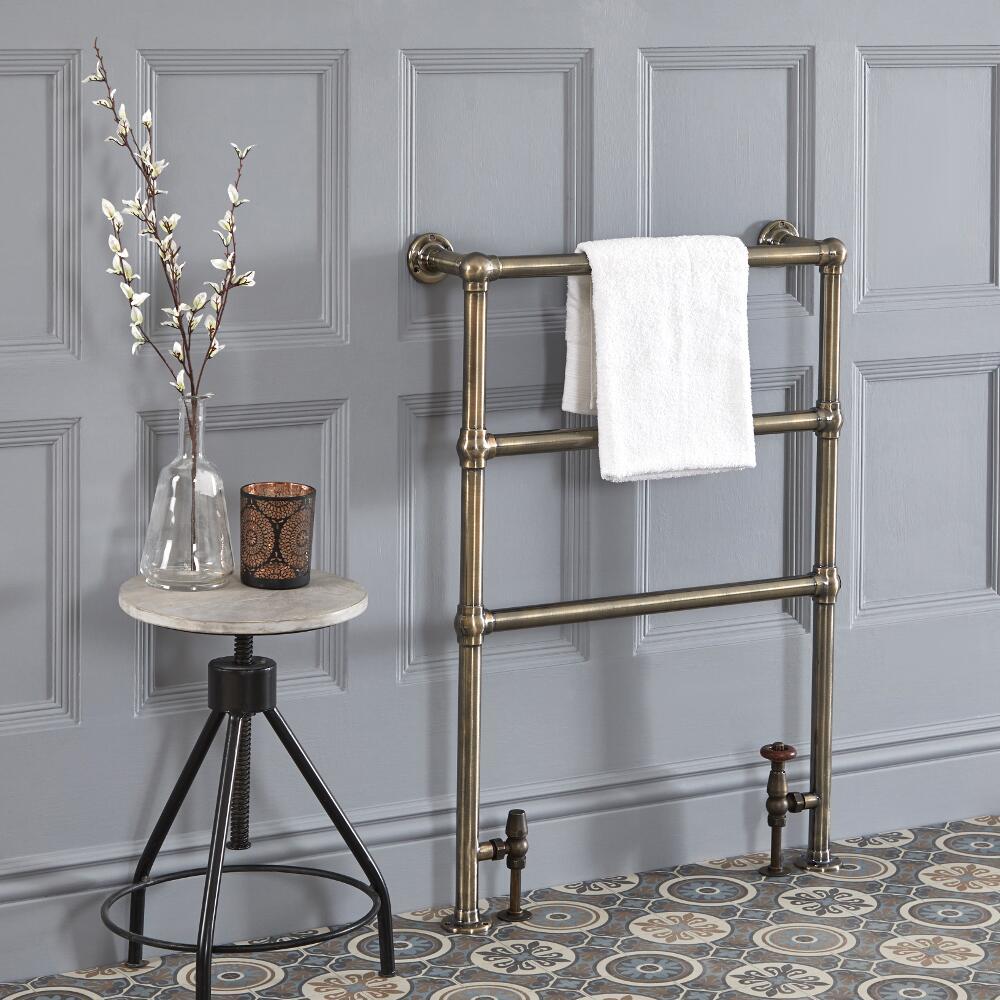 Milano Derwent - Traditional Minimalist Brushed Gold Heated Towel Rail - 930mm x 632mm