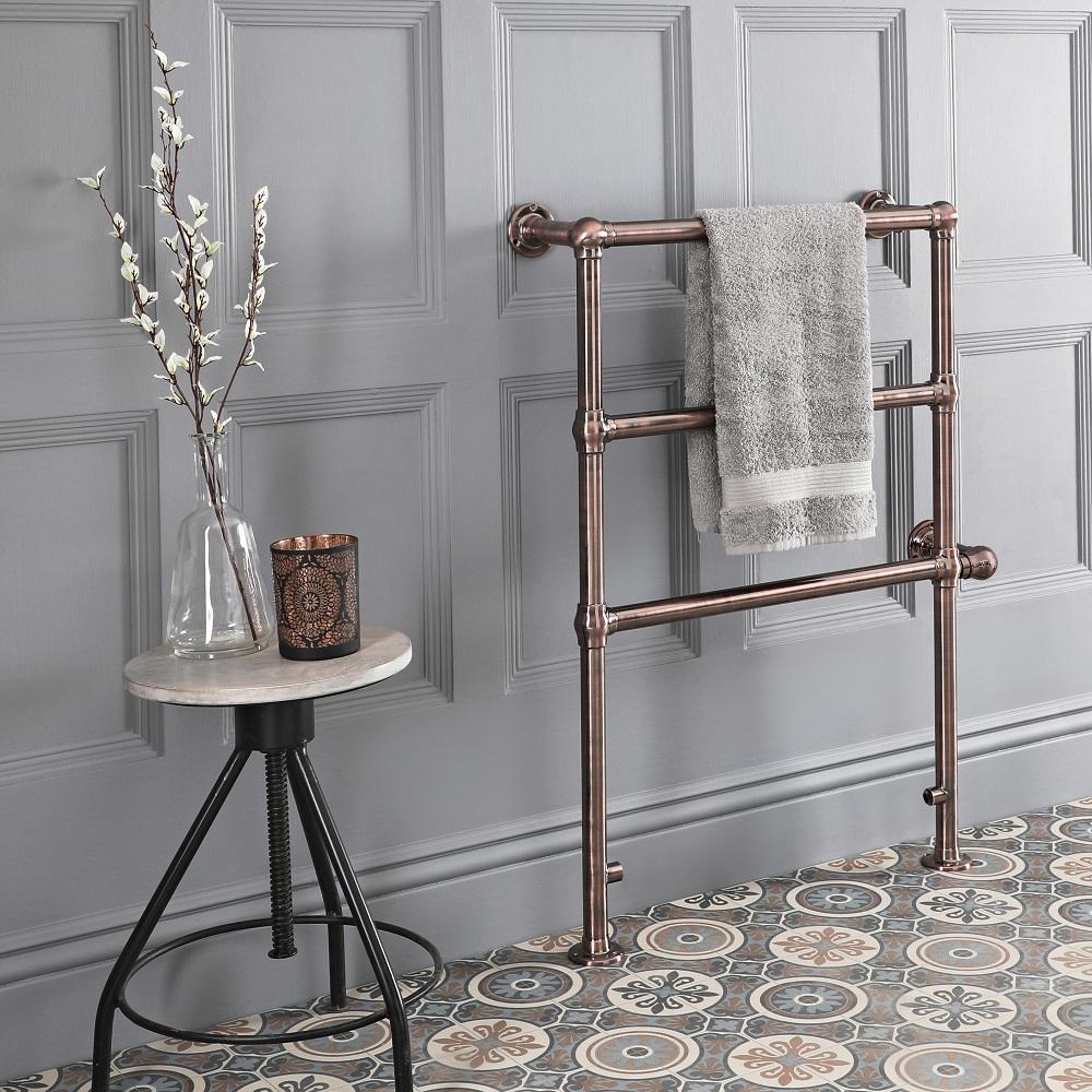 Milano Derwent - Traditional Minimalist Oil Rubbed Bronze Electric Heated Towel Rail - 930mm x 632mm