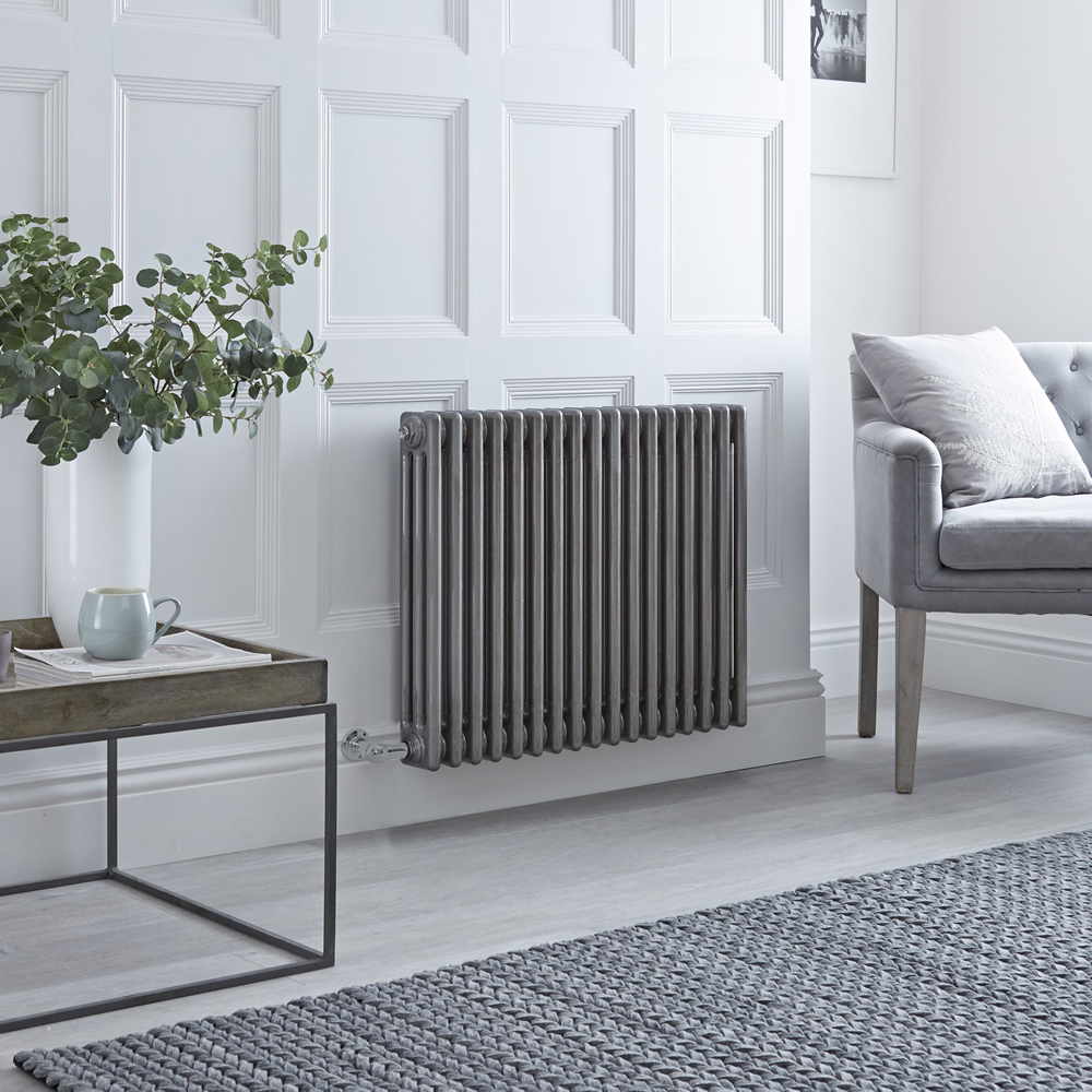 Milano Windsor - Traditional Horizontal 3 Column Electric Radiator - Raw Metal Lacquered - 600mm x 789mm