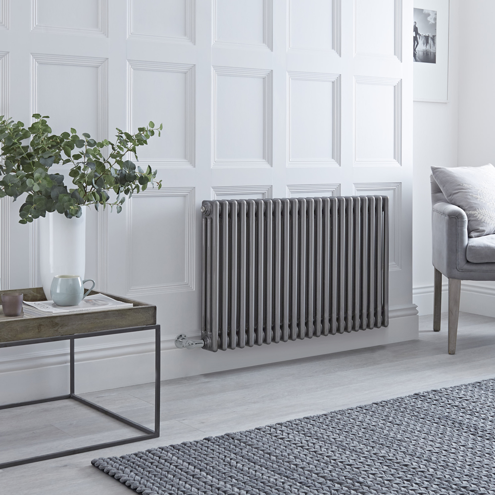 Milano Windsor - Traditional Horizontal 3 Column Electric Radiator - Raw Metal Lacquered 600mm x 1013mm