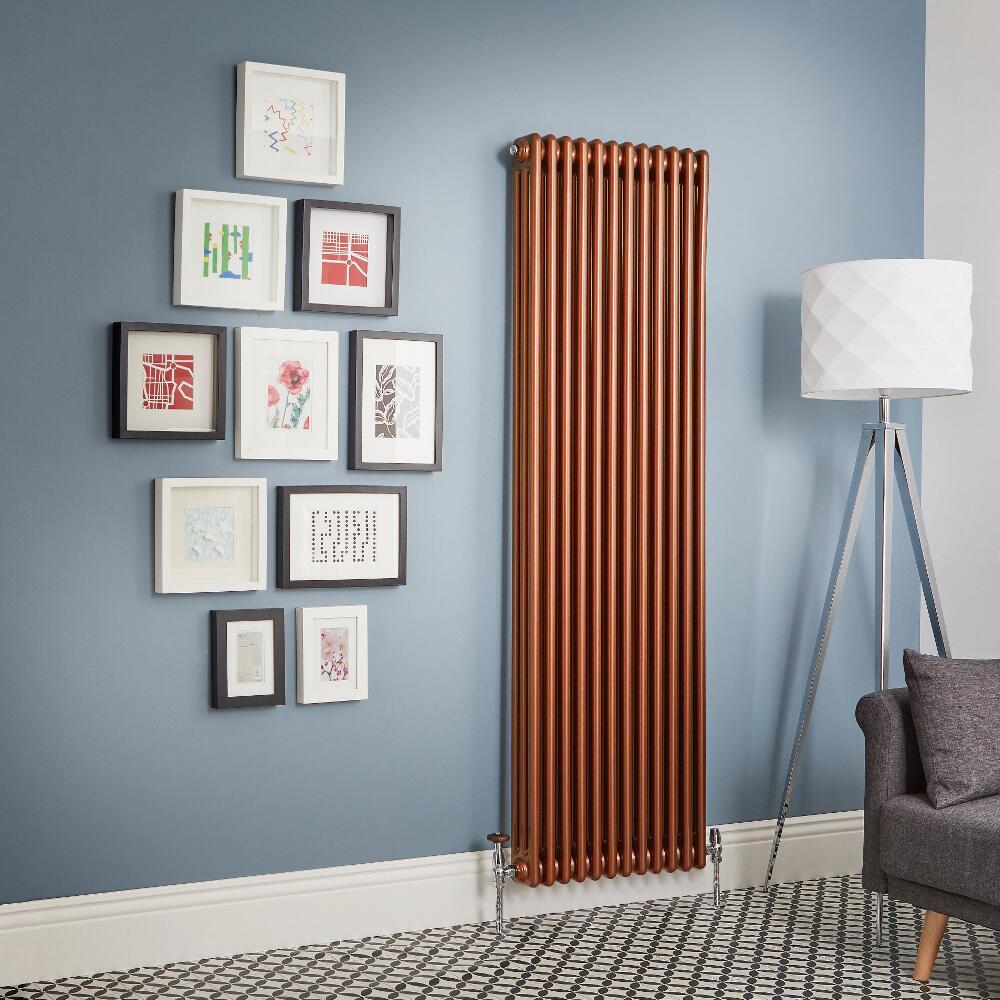 Milano Windsor - Metallic Copper Vertical Traditional Column Radiator (Triple Column) - All Sizes