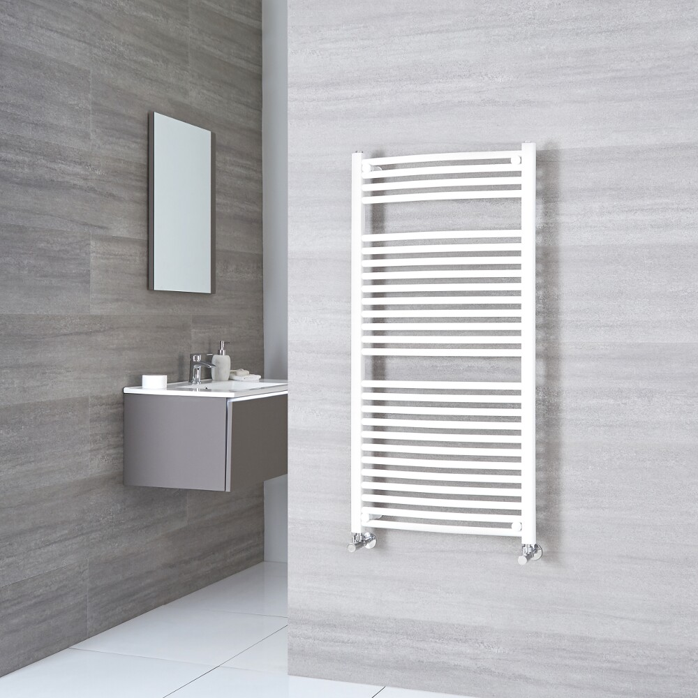 Sterling - White Curved Heated Towel Rail - 1200mm x 500mm