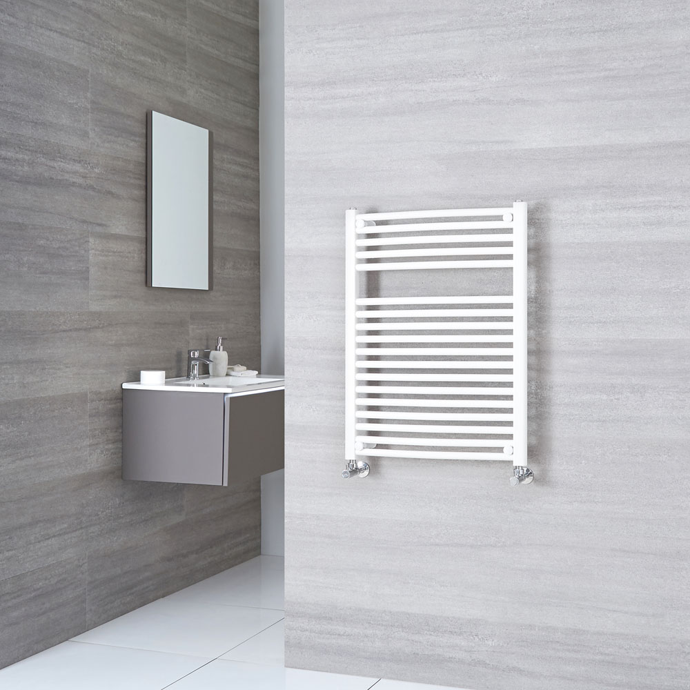 Sterling - White Curved Heated Towel Rail - 800mm x 600mm