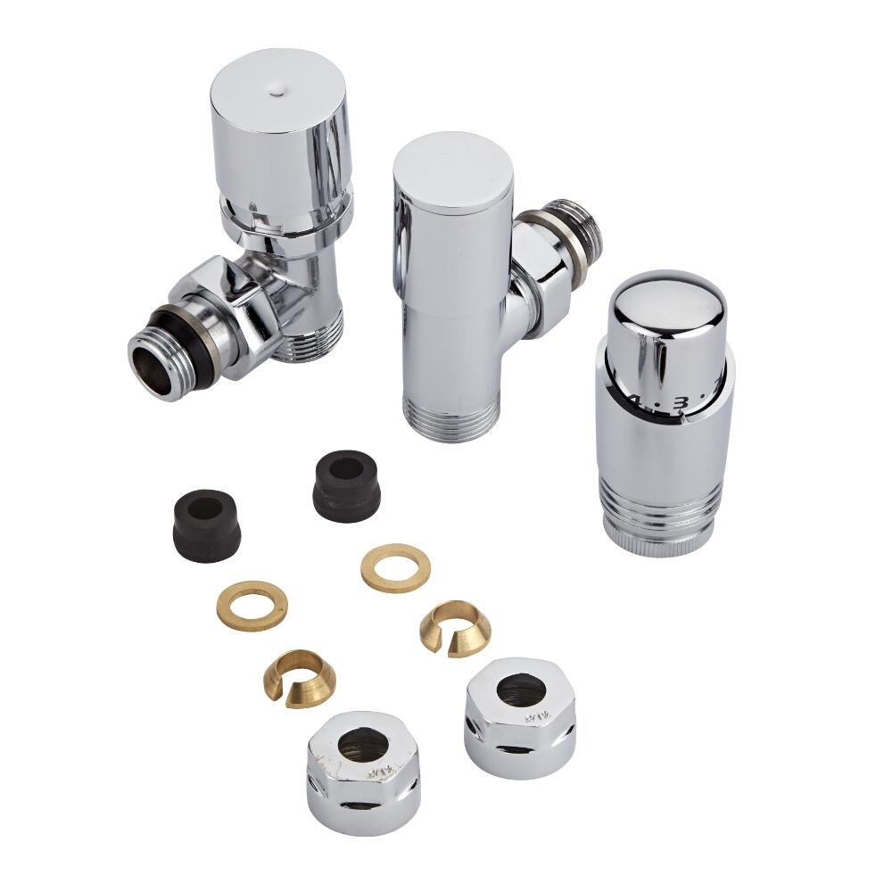 "Milano - Chrome 3/4"" Male Thread Valve With Chrome TRV - 12mm Copper Adapters"