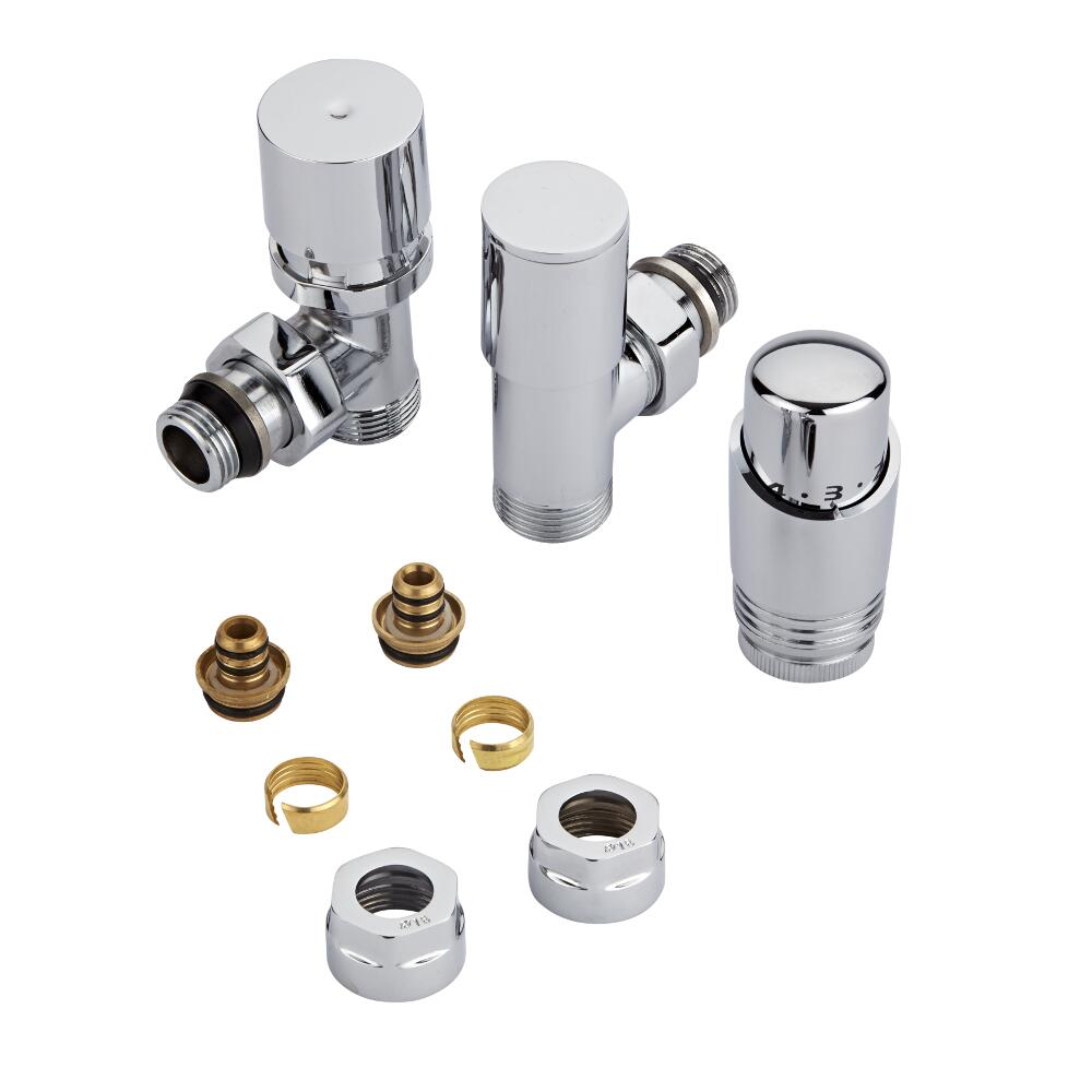 """Milano - Chrome 3/4"""" Male Thread Valve With Chrome TRV With 16mm Multi Adaptors"""