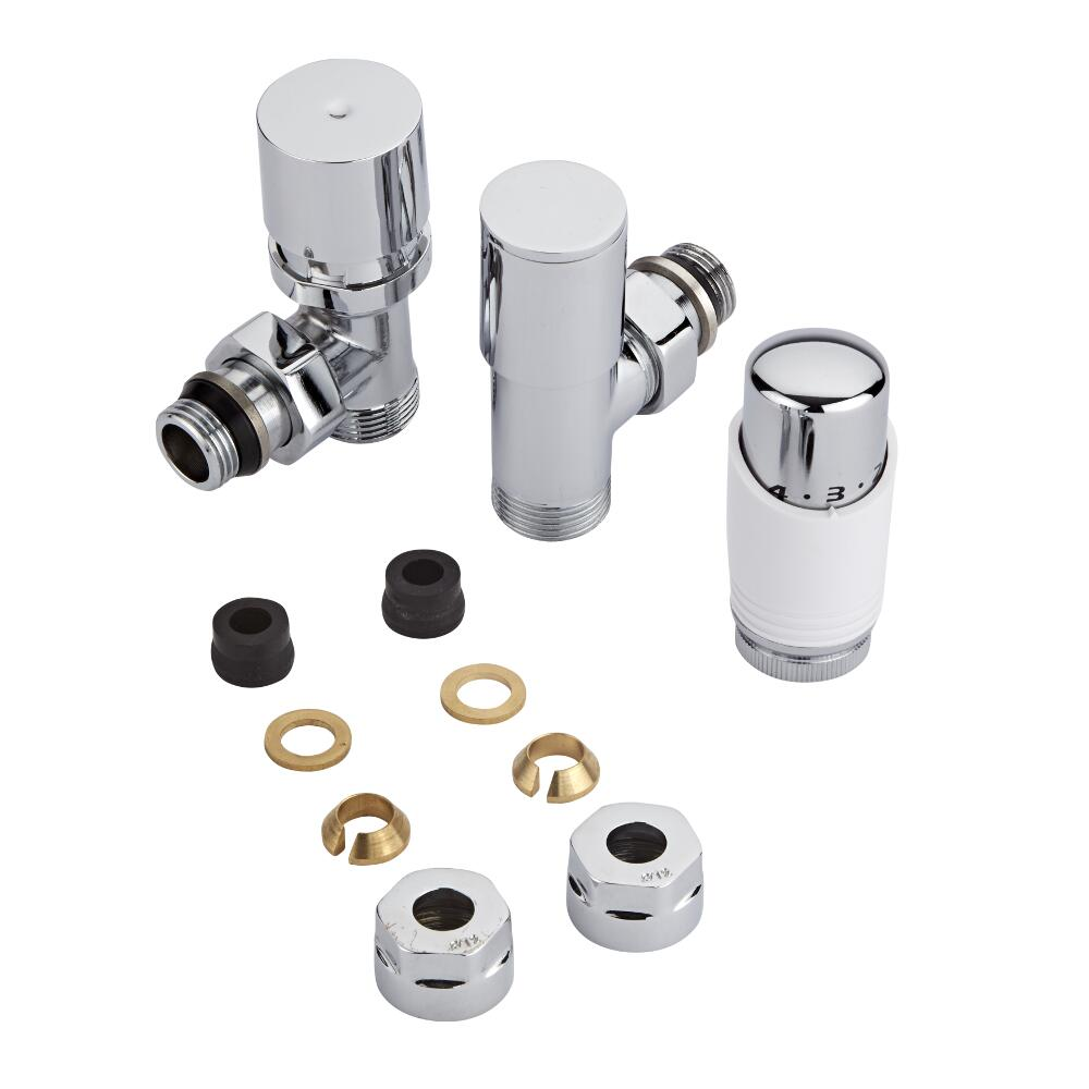 "Milano - Chrome 3/4"" Male Thread Valve With White TRV With 12mm Copper Adaptors"