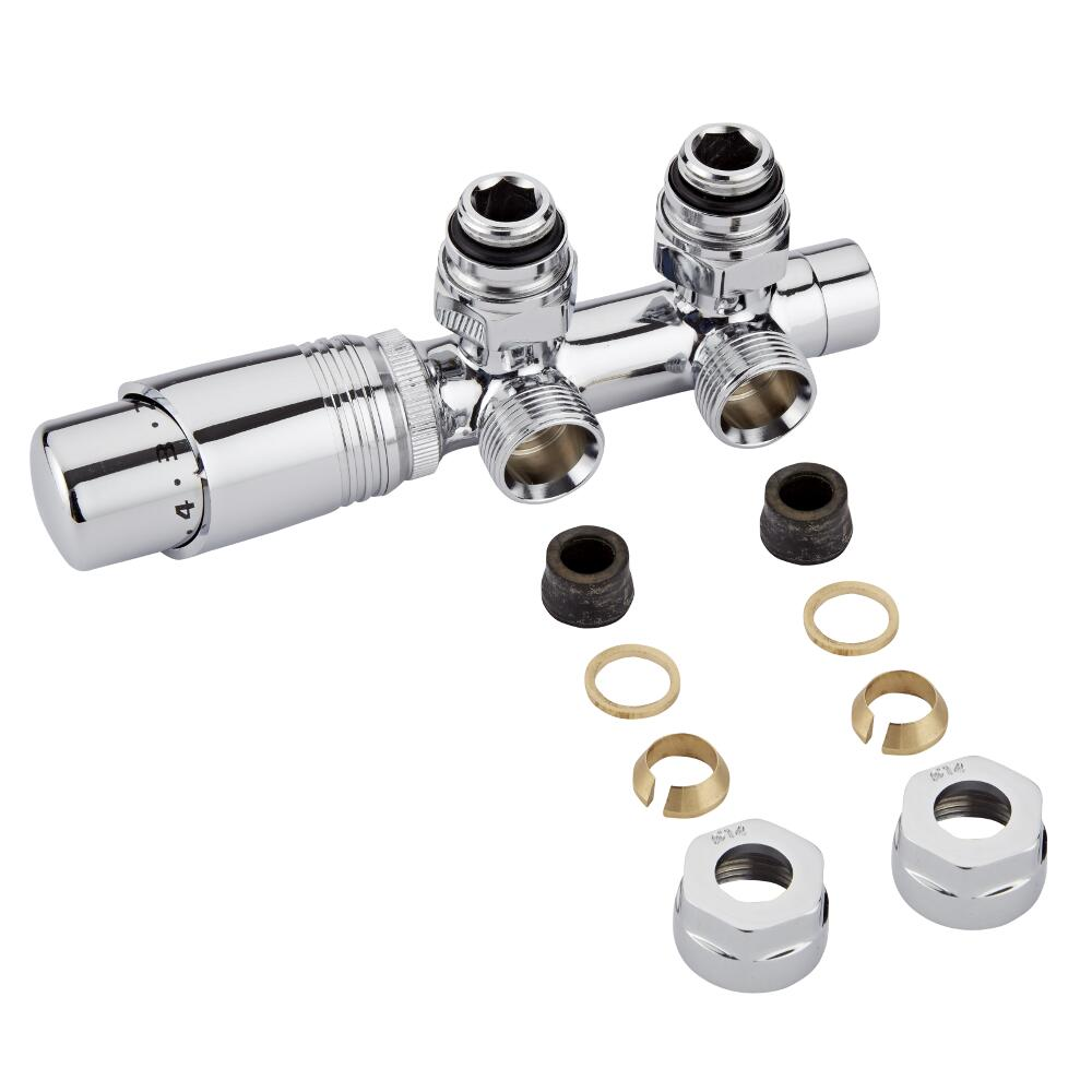 "Milano Chrome 3/4"" Male H Block Angled Valve with Chrome TRV Head & 14mm Copper Adaptors"