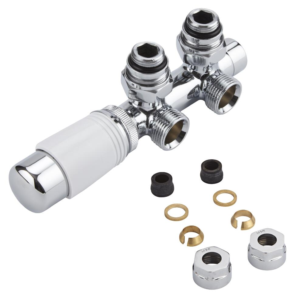 "Milano Chrome 3/4"" Male H Block Angled Valve with White TRV Head & 14mm Copper Adaptors"